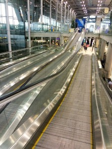 Escalator take you up, down and across at the same time