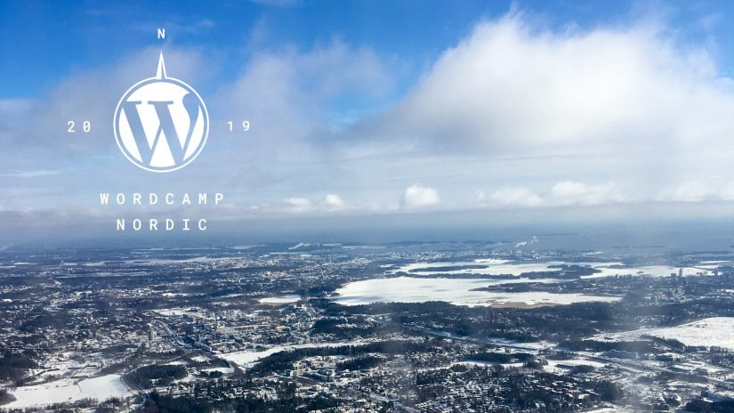 View over Helsinki, Finland with WordCamp Nordic Logo as overlay